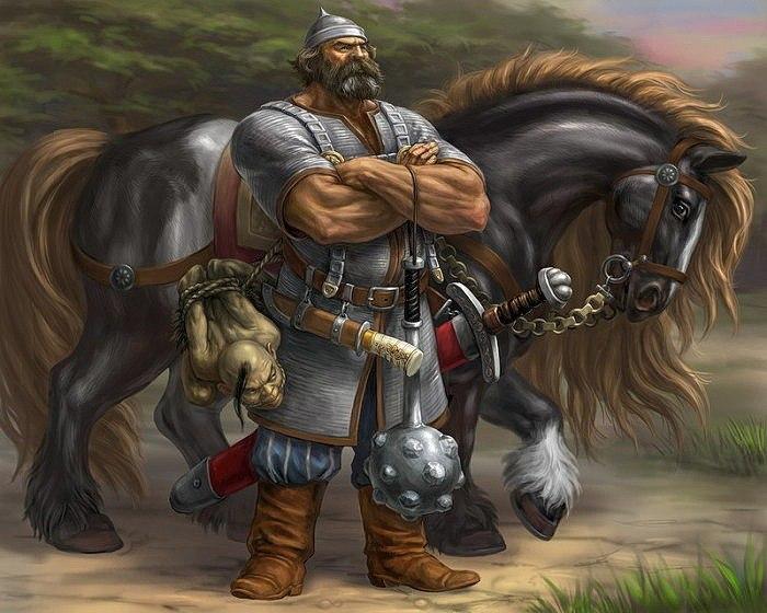 Богатырь с палицей рядом с конем