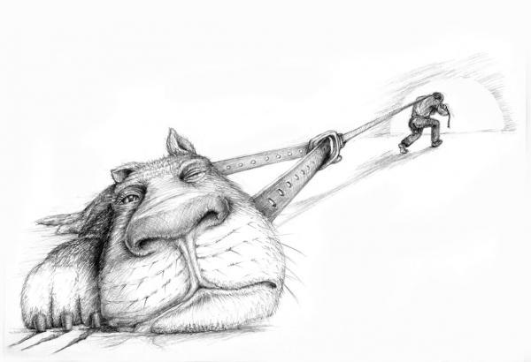 Кота тянет мужик в туннель