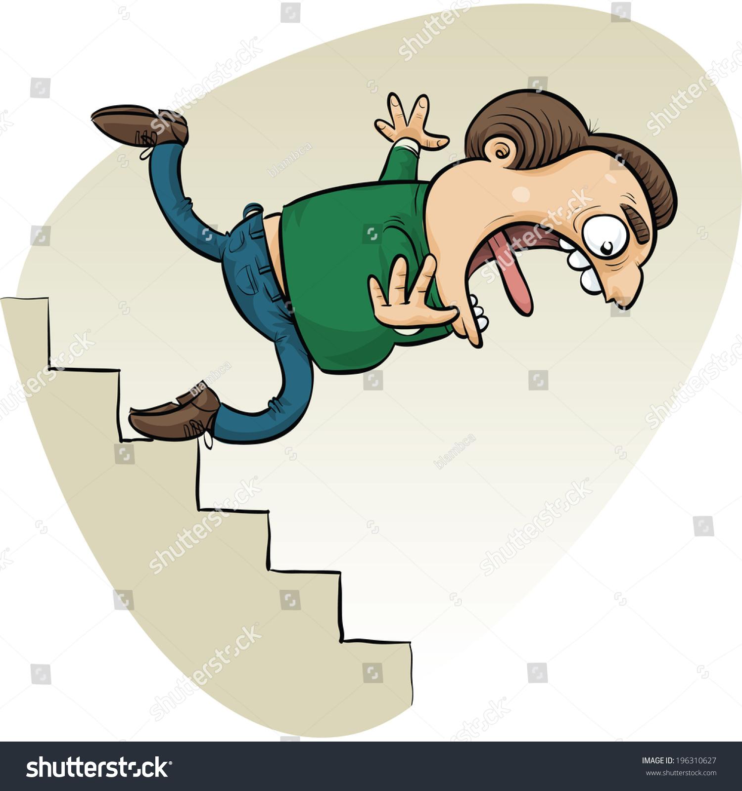 Мужик падает с лестницы