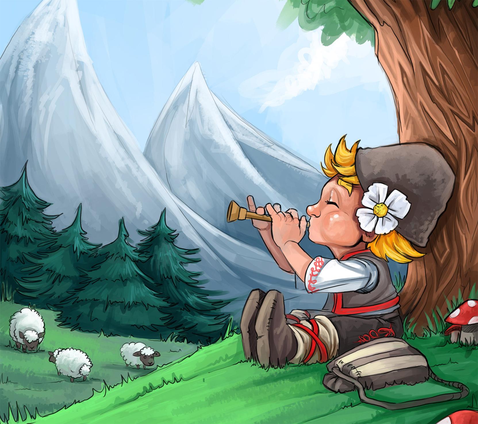 картинка, пастух, овцы