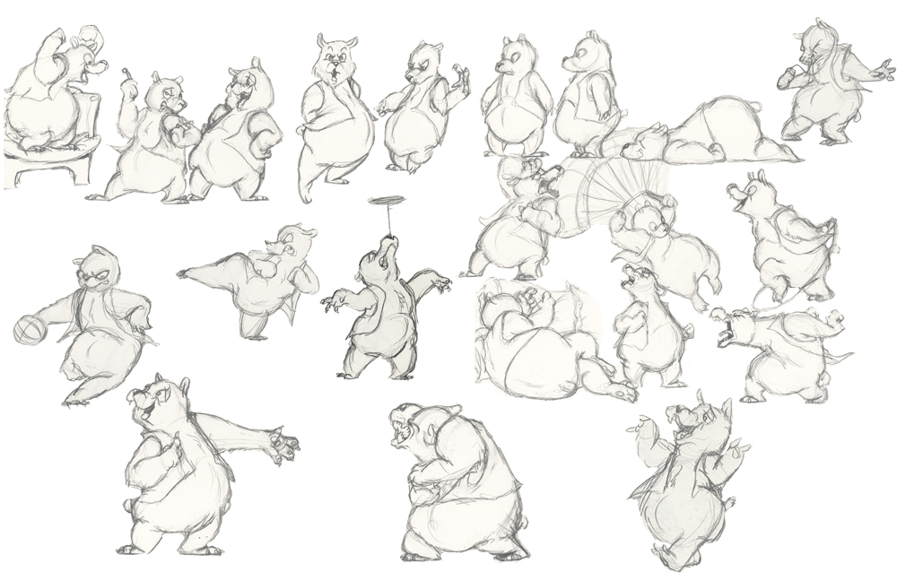 скетчи, медведь, позы, рисунки карандашом