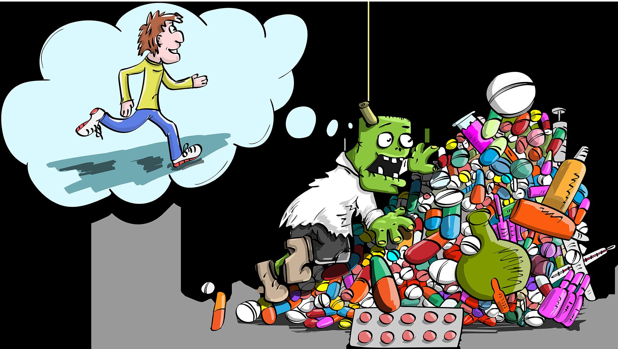 зомби, таблетки, гора, лекарства