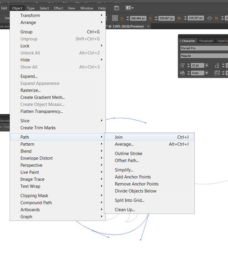 Illustrator соединение опорных точек